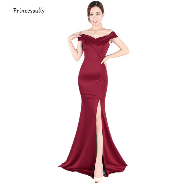9f4ce6abc84f New Simple Mermaid Evening Gown Elegant High Slit Sexy Boat Neck Off the  Shoulder Prom Dress Long Evening Party Gown Robe Soriee