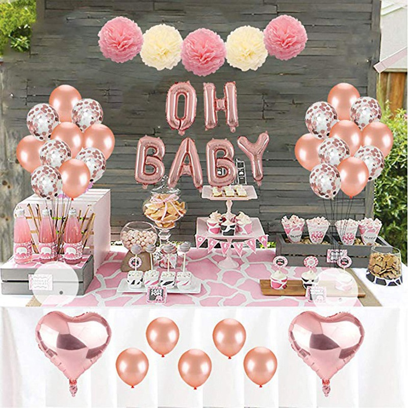 Rose Gold Balloon Set Oh Baby Girl Shower Pull Flower Decoration Pink Paper Flower Ball Party Supplies