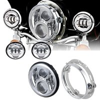 1Set 7'' harley led Daymaker headlight with 4.5 inch led fog light passing Driving lamp for harley Davidson with Adapter Ring