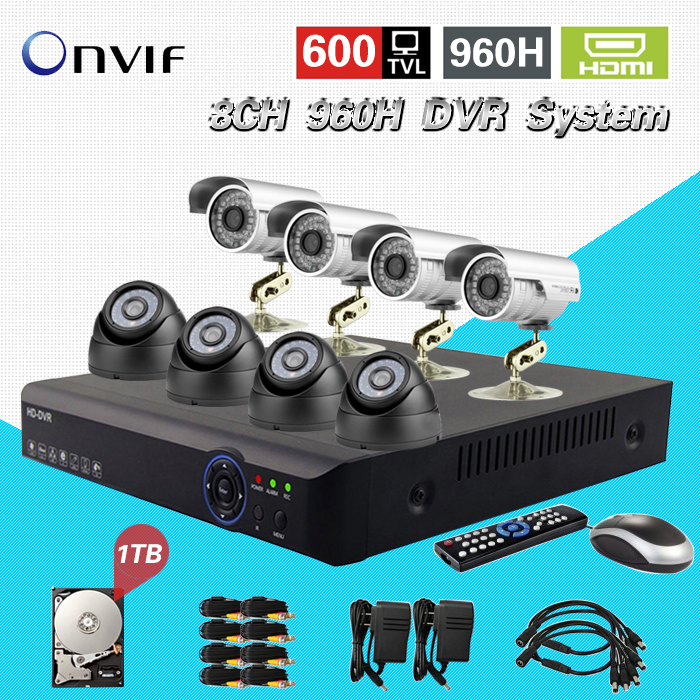 TEATE 8CH Full 960H real time recording H.264 CCTV DVR NVR recorder 8CH 600TVL Color CMOS IR outdoor indoor cameras CK-059 new dvr 4 channel h 264 4ch full d1 real time recording support network mobile phone cctv dvr recorder 4ch security dvr