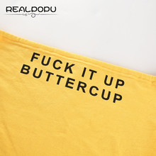 Realpopu Yellow Top Basic Funny Letter Printed Bandeau Casual Strapless Boob Tube Tops Women Casual Streewear Bandeau Bra Summer
