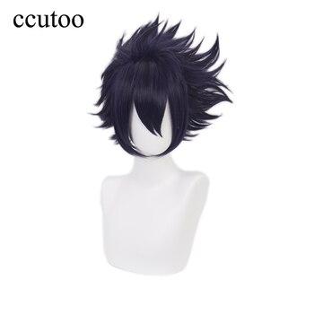 My Hero Academia Boku no Hiro Akademia Amajiki Tamaki Dark Blue Short Cosplay Wig Synthetic Hair Perucas + Wig Cap