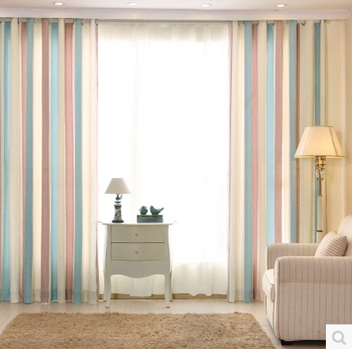 1pc Blue Striped Printed Window Curtains For The Bedroom