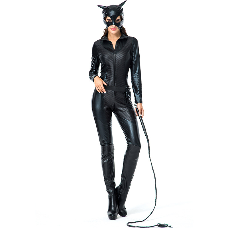 Adult Black Wet Look Body Suit Cat Lady Woman Sexy Villain Costume