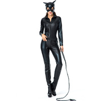 Adult Black Wet Look Body Suit Cat Lady Woman Sexy Villain Costume