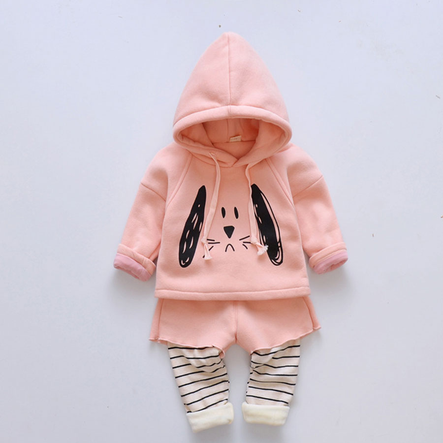 Baby Girls Winter Suit Thickening Baby Wear Two Piece Children Winter Warm Cotton-padded Clothes Winter Jacket