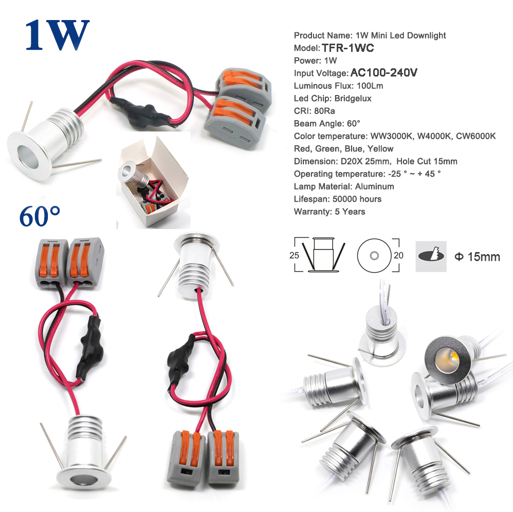 8PCS 1W 110V 220V 240V Mini LED Spot Lighting 15mm 100Lm Cabinet Lamp CE RoHS Ceiling Spotlight 80Ra