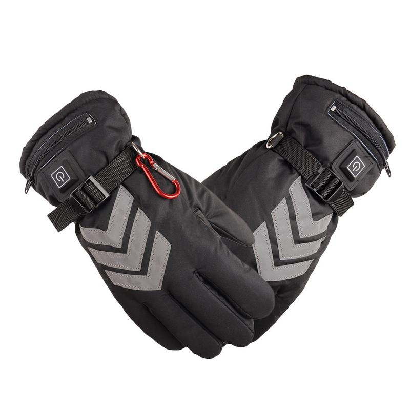 все цены на Electric Heated Gloves Reflective Duty Motorcycle Warm Outdoor Sport Waterproof Skiing Gloves Touch Screen Lithium Battery