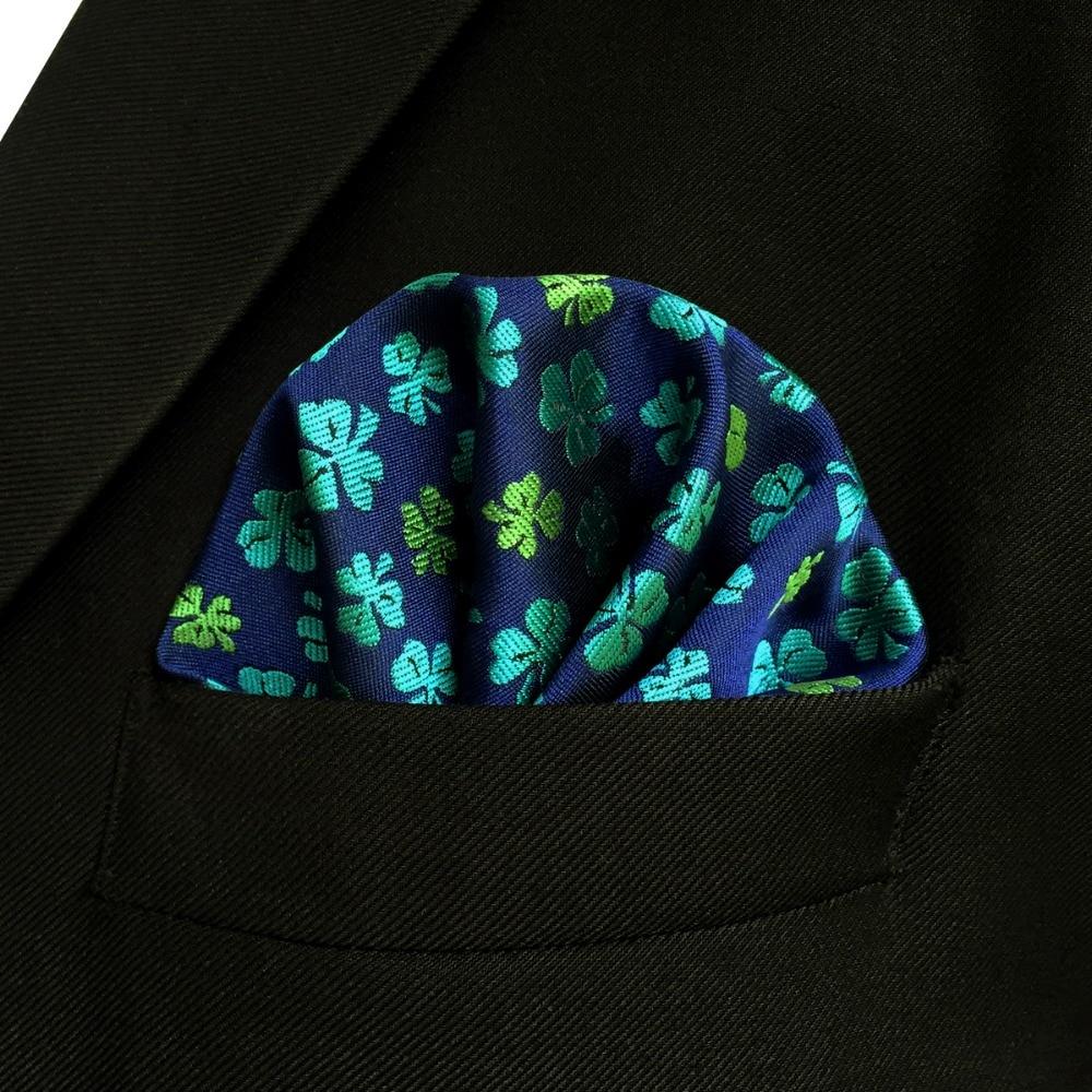 EH18 Blue Green Clover Mens Pocket Square Wedding Silk Floral Handkerchief Hanky
