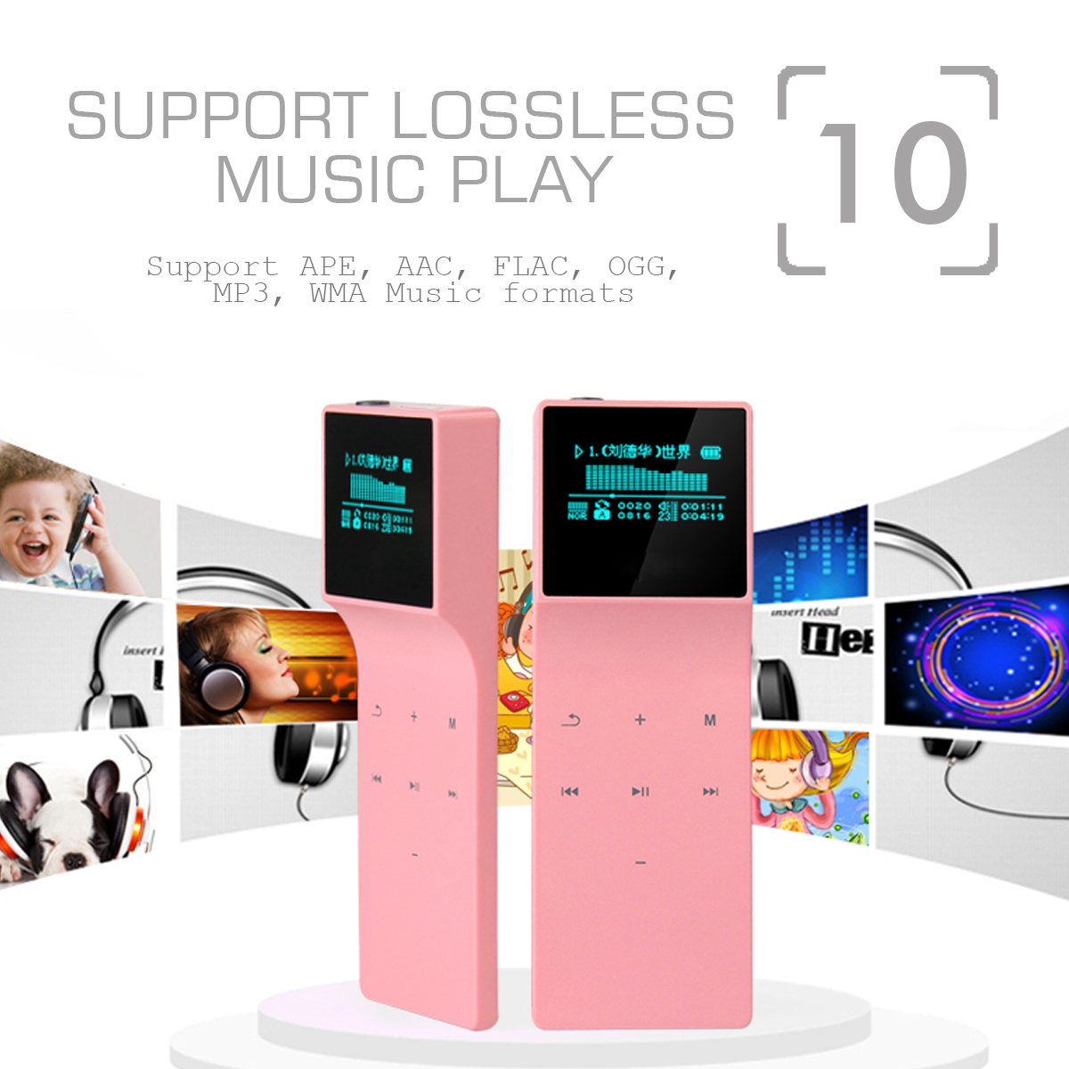 Bluetooth MP3 Music Player Color Screen Lossless HiFi Sound Lossless Sound Portable Recorder Clip with FM Radio