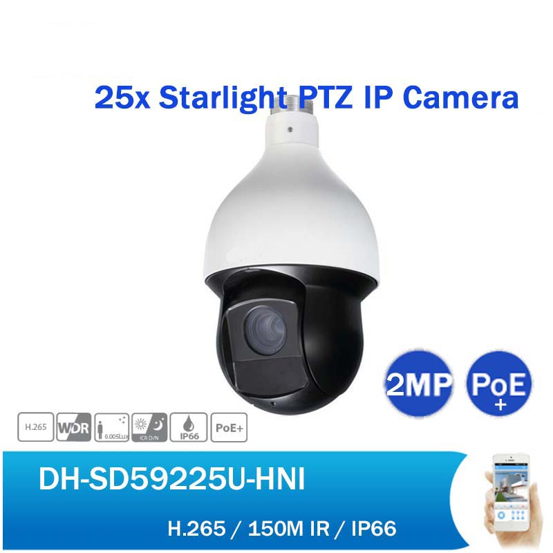 English DH DH-SD59225U-HNI 2MP 25X Starlight IR PTZ Network Camera Outdoor H265 150M IR PoE Speed Dome IP Camera without logo cctv security sd6c225i hc 2mp 25x starlight ir 150m 4 8 120mm ptz hdcvi camera