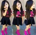 SQ197 Бесплатная доставка новая мода девушка свободно облегающие юбка костюм дети набор хлопок цветочные Футболки + юбки 2 шт. девушки одеваются розничная