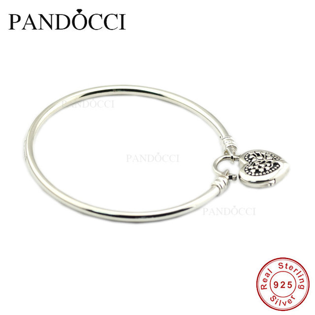 84fb6d2ba Limited Edition Flourishing Heart Padlock Bangle 925 Sterling-Silver DIY  Beads Fit Pandora Charm Exotic Bracelets for Women
