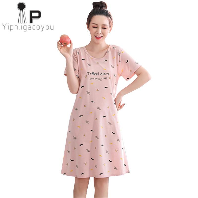 5XL 4XL Women Night dress 2018 New Design Summer Sleepwear Plus size Home clothes For Women Nightgown Cotton Ladies Nightwear 02