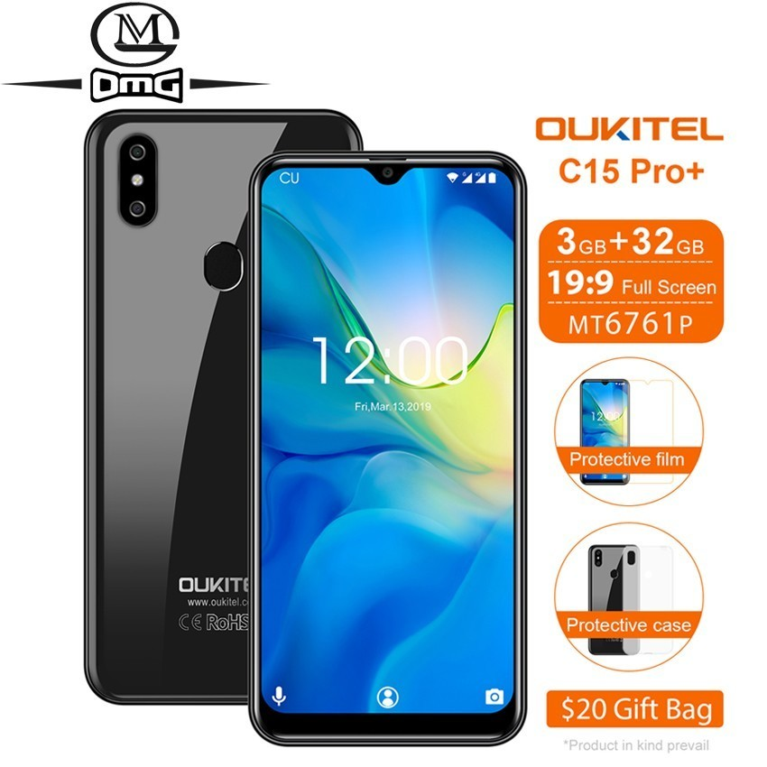 OUKITEL C15 Pro+ 6.088'' cellphone Water Drop Screen mobile cell phone 4G Smartphone Android 9.0 3GB+32GB 2.4G/5G WiFi Phones