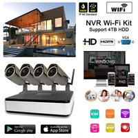 1.0MP 720 P Draadloze WIFI IP CCTV Bewakingscamera 4CH NVR Systeem P2P Kit Wifi IP Camera Nvr set voor home office factory beveiliging