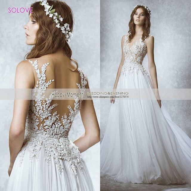 2017 Sexy White A Line Chiffon Wedding Dress Backless Bridal Gown Elegant Lace Beach Wedding Dress 2017 Vestido De Noiva SLW249