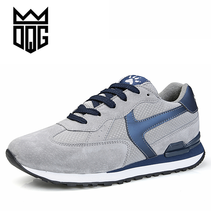 DQG 2017 Men Running Shoes Summer Genuine Leather Sports Shoes Breathable Jogging Sneakers For Man Outdoor Walking Trend Shoes