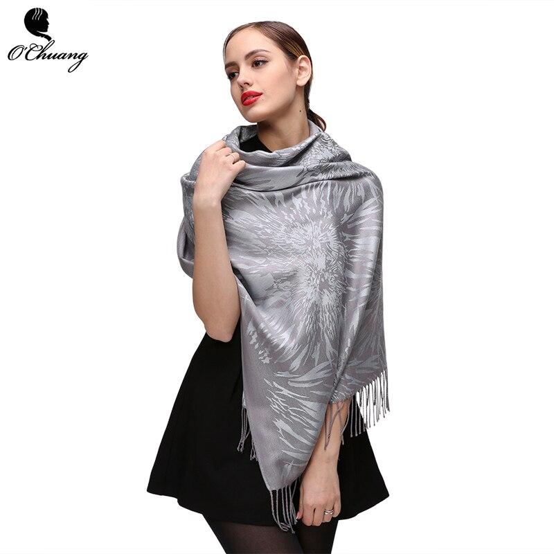 O CHUANG Winter Scarf Women Silver pashm