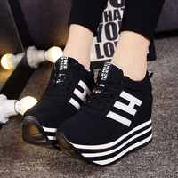 Autumn New Sports and Leisure Shoes, Muffin Cake, Thick Bottom, Ribbon and High-top Single Shoes