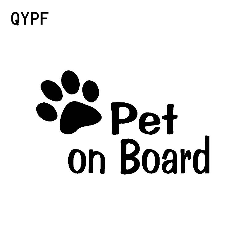 QYPF 12.7CM*7.7CM Pet On Board With Paw Print Vinyl Decal Car Sticker Black Sliver C14-0232
