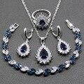 Gota de agua Azul Cubic Zirconia 4 UNIDS Mujeres Sistemas de La Joyería Elegante 925 Pendiente de Plata Colgante de Collar Pulsera Anillo JS52