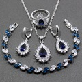 Water Drop Blue Cubic Zirconia 4PCS Women Gracious Jewelry Sets 925 Sterling Silver Earring Pendant Necklace Bracelet Ring JS52