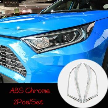 Para a Toyota RAV4 2019 ABS Cromo/fibra de Carbono Frente Car Light Head Lamp Faróis Quadro Guarnição da Tampa do Estilo Do Carro acessórios 2 pcs