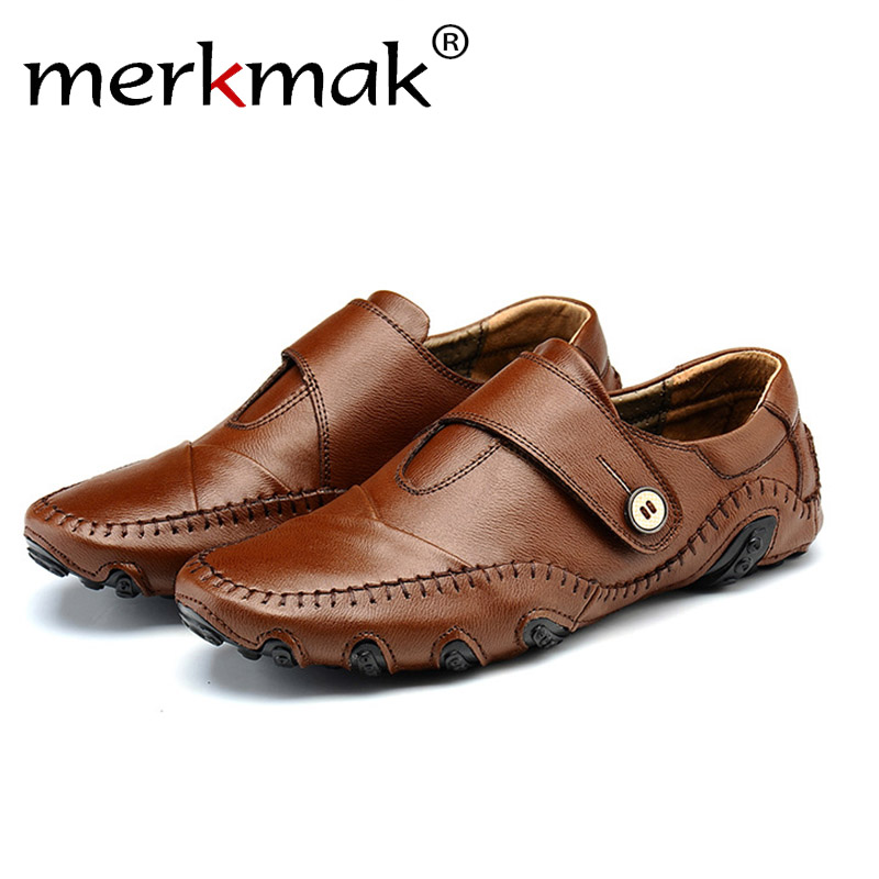 Merkmak Men' s Loafer Shoes 2017 Fashion Genuine Leather Slip On Chaussure Homme Drinving Flats Sapatos Masculinos Men Footwears шампунь brelil professional numero illuminating shampoo with precious oil