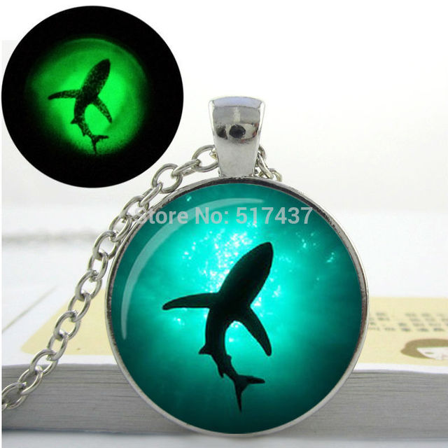 Glowing necklace pendant shark necklace vintage shark jewelry art glowing necklace pendant shark necklace vintage shark jewelry art photo glass dome glowing jewelry aloadofball Gallery