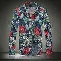 Большой размер м-5xl роза цветок цветочный хлопок мужчины рубашка длинный рукав свободного покроя отложным вниз воротник рубашки вилочная часть A3037