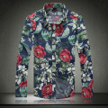 Big size M-5XL Rose Flower Floral Cotton Men Shirt Long Sleeve Casual Turn Down Collar Shirts Male 2015 New A3037