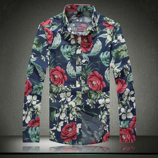 Gran tamaño M-5XL flor color de rosa Floral de algodón hombres camiseta de manga larga Casual Turn Down Collar camisetas para hombre 2015 nueva A3037