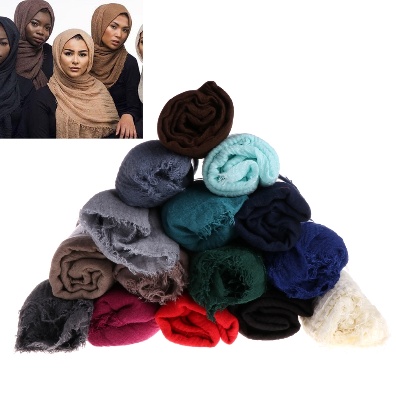 Women Islam Maxi Crinkle Cloud Hijab Scarf Shawl Muslim Long Shawl Stole Wrap stylish stripe pattern fringed shawl wrap pashmina