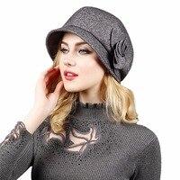 Fashion England Fall Winter Retro Women's Fedora Caps For Woman Lady Wool Felt Flora Octagonal Hats
