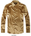 Golden Luxury the groom shirt male long sleeve wedding shirt men's party Artificial silk dress shirt M-3XL 21 colors FZS19