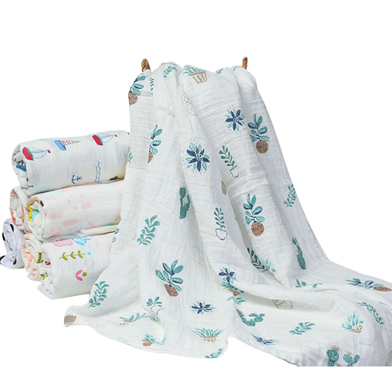 Muslin 100% Organic Cotton Baby Swaddles Soft Newborn Blankets Bath Gauze Infant Wrap Sleepsack Stroller Cover Play Mat