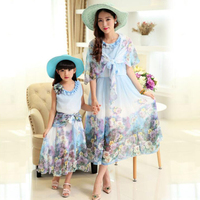 Princess Girls And Mummy Dresses Summer Bohemian Style Sleeveless Dresses For Girls Party Dress Lovely Children