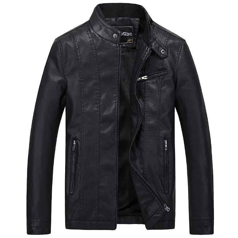Chaqueta de invierno de moda de calle americana para Hombre con cuello de soporte de terciopelo chaquetas de cuero de PU para Hombre