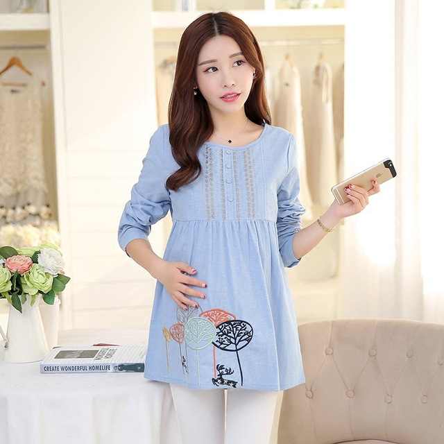 cdb4fb60c4349 Sweet Maternity Blouses Pregnancy Clothes For Pregnant Women Dress Long- sleeved Clothing Maternity Tops Pregnant Shirt