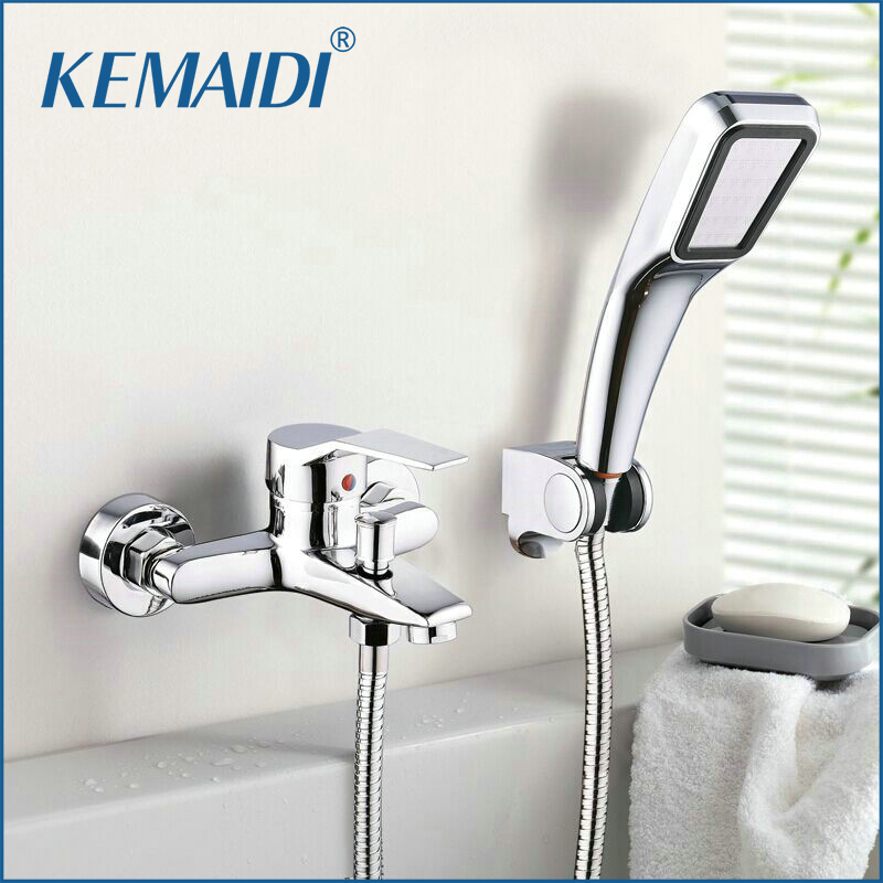Wall Mounted Bathroom Faucet Bath Tub Mixer Tap With Hand Shower Head Shower Faucet Bathroom Faucets&Tap Single Hole Faucet