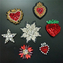 3D Handmade Rhinestone beaded Patches HEART STAR Sew on sequin Crystal patch for clothing beading Applique cute