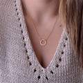 Somple Dainty Circle Pendant Necklace  Gold Filled or  Silver Delicate Chain Dainty choker necklace Fashion jewelry colares