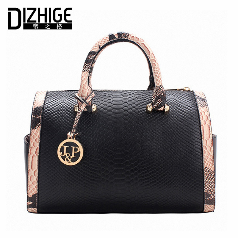 Fashion Serpentine Women Bag High Quality PU Leather Bags Handbag Women Famous Brands Designer Luxury Ladies Shoulder Bag Boston 4sets herringbone women leather messenger composite bags ladies designer handbag famous brands fashion bag for women bolsos cp03