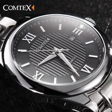 COMTEX Мужчины Кварцевые Часы Из Нержавеющей Стали Браслет С Римскими Цифрами И Большой Циферблат Мода Марка Часы Мужчины Relógio Masculino