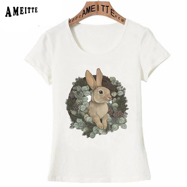 b2933463e8f5 Vintage Rabbit Tattoo Print T-Shirt Summer Cute Women T-Shirt Funny Bunny  Design Girl Tops Fashion Casual Tees Ladies t shirt