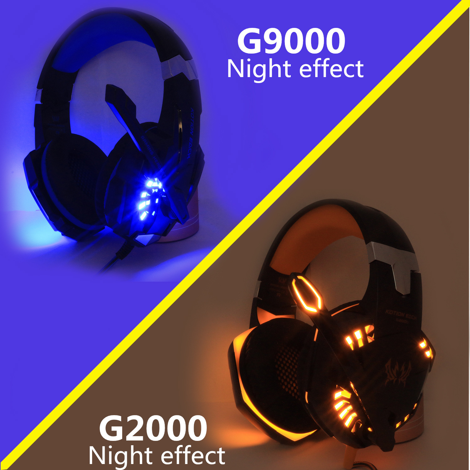 KOTION EACH Gaming Headphones Headset Deep Bass Stereo wired gamer Earphone Microphone with backlit for PS4 phone PC Laptop 5