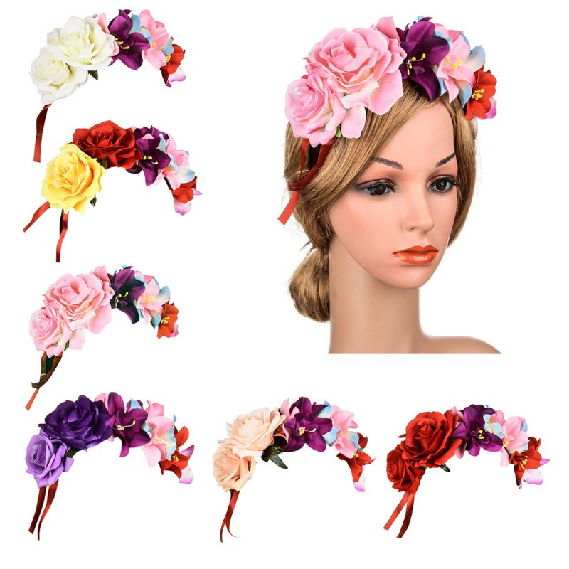 Women Mexican Assorted Colors Handmade Rose Flower Crown Headband Party Costume Hair Hoop Bohemian Vacation Adjustable Headpiece