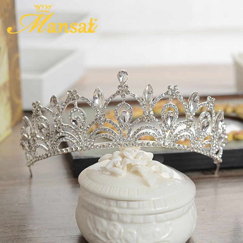 Super Shiny Rhinestone Wedding Bridal Tiaras Women Prom Engagement Crown Mariage Gift Brides Hairband Veil Headpiece HG135