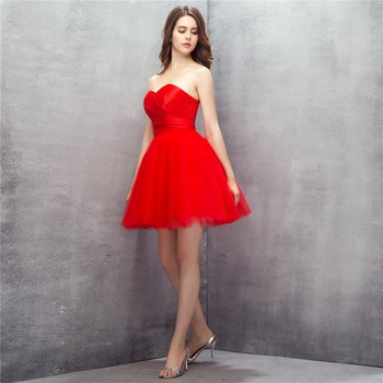Red Girl Prom Dress Short 2019 Simple Buy Direct From China Vestido Curto Galajurken Evening Party Dresses Puffy Prom Dress Gala
